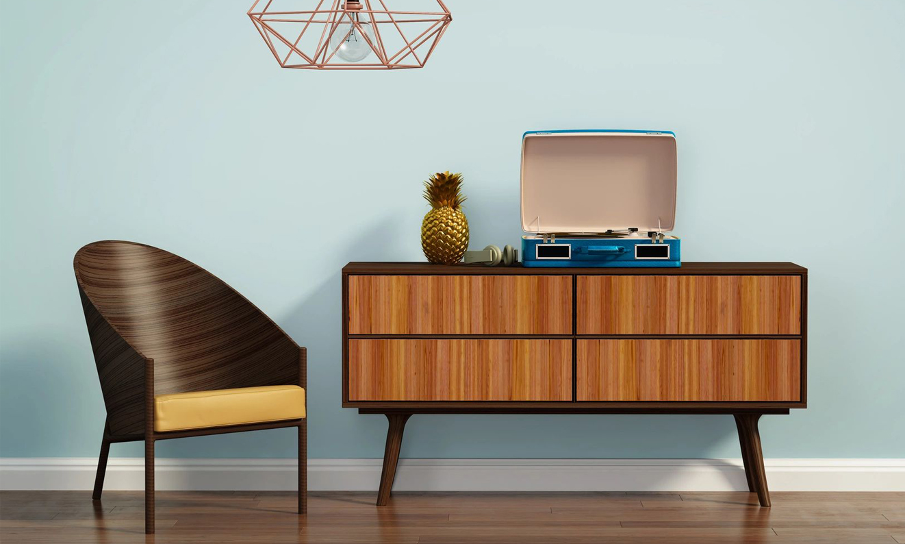 mid-century modern chair and hutch