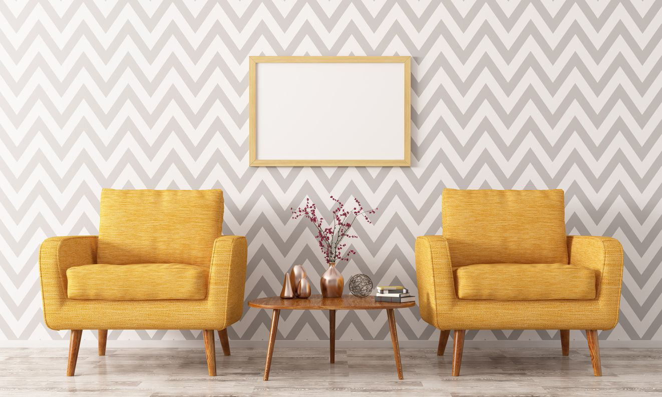 yellow mid-century modern chairs with end table
