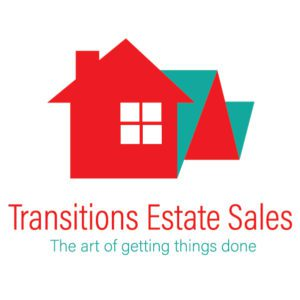 logo for Transitions Estate Sales with red house